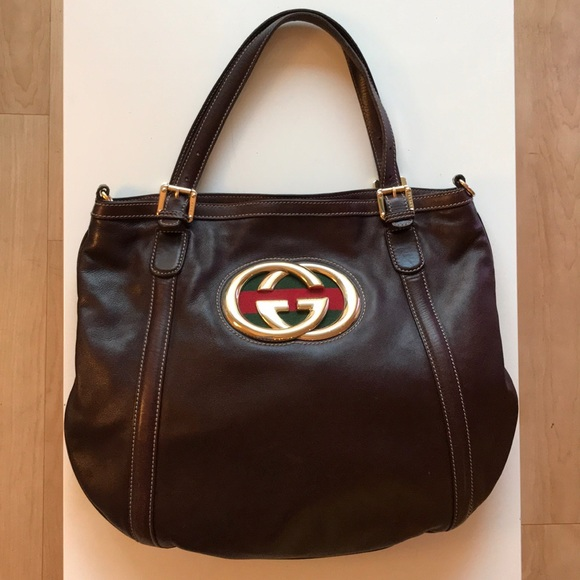 5535004892f Gucci Handbags - Gucci Shoulder Bag - Brown Leather with Gucci Logo